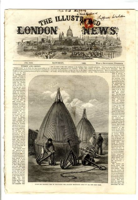 1866 ILLUSTRATED LONDON NEWS AtlanticTelegraph Cable CHOIR WORCESTER Victorian Newspaper (0931)